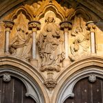 Mary and child over the doors at Salisbury Cathedral England.